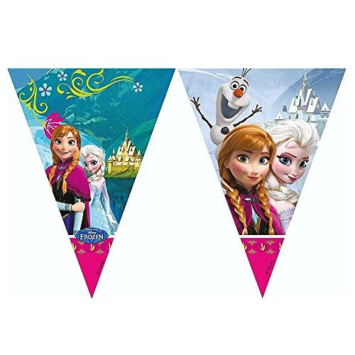 La Reine des Neiges - Disney Frozen - fête d'anniversaire - Guirlande de Drapeaux en Plastique 2.0m