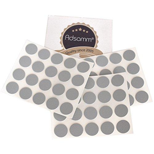 Adsamm® | 60 x Abdeckkappen | Ø 13 mm | Grau hell | rund | 0,45 mm dünne selbstklebende Möbelpflaster von Adsamm®