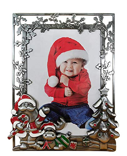 Yuokwer Vintage Winter Merry Christmas Picture Frame,Christmas 5 x 7inch Photo Frame for Table Decor and Christmas Decoration, Photo Frame Ornament (Antique Silver, 5X7)