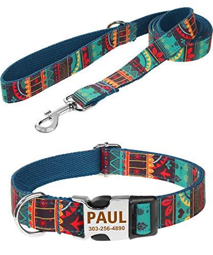 Taglory Personalisierte Halsband Leine, Gravierte Metallschnalle Halsband Hund Name Telefonnummer, Mode-Muster hundehalsband mit 1.5m Leine Set für Kleine Hunde,Grün