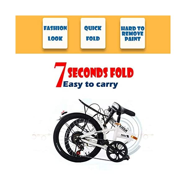 Folding Bikes WSJYP Folding Bicycle, 20 Inch Lightweight Mini Folding Bike,Small Portable Bicycle,Ultra Light Variable Speed Bicycle…