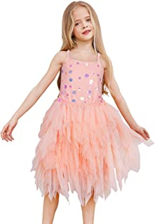 Girls Dress Party Flower Girl Irregular Sequin Tutu Tiered Skirt Birthday Party Pageant Prom Ball Short Gown