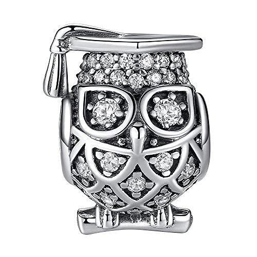 BOLENVI Abalorio de plata de ley 925 con diseño de búho de graduación para pulseras o collares similares