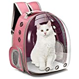 Moyeno Cat Backpack Carrier Bubble Carrying Bag, Small Dog Backpack Carrier for Small Dogs, Space Capsule Pet Carrier Dog Hiking Backpack for Small Medium Cats, Airline Approved Travel Carrier - Pink