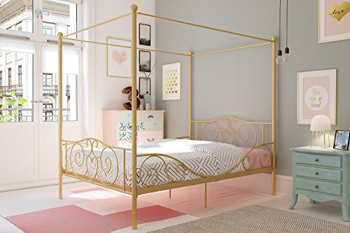 DHP Metal Canopy Bed with Sturdy Bed Frame - Full Size (Gold)