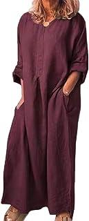 Shallood Vestito Donna con Manica Corta Vestiti Estivi Donna Scollo V Abito Donna Corto a Line Taglia S-XL 03 Vino Rosso 52