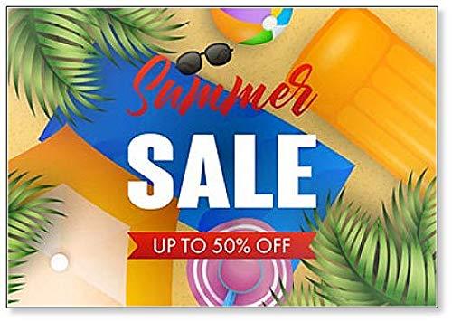 Summer Sale Schriftzug mit Strandmatte, Hut, Ball und Luftmatratze Kühlschrankmagnet