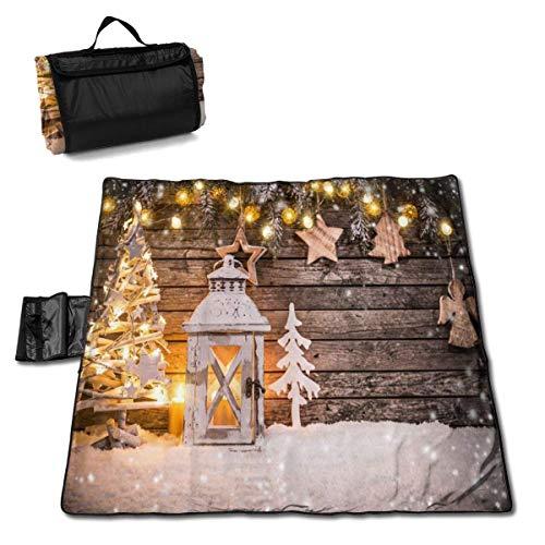 Suo Long Décoration de Noël sur Une Couverture de Pique-Nique en Bois avec Tapis de Pique-Nique pour Le Camping Beach Park Lawn