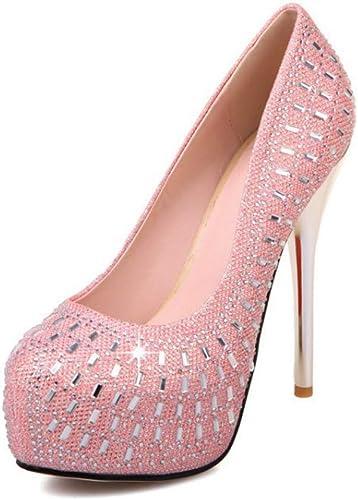 HLG Chaussures de mariage bout rond talon talon haut pu bouche peu profonde plate-forme de diamant brillant slip sur pompes demoiselle d'honneur bal  loisir