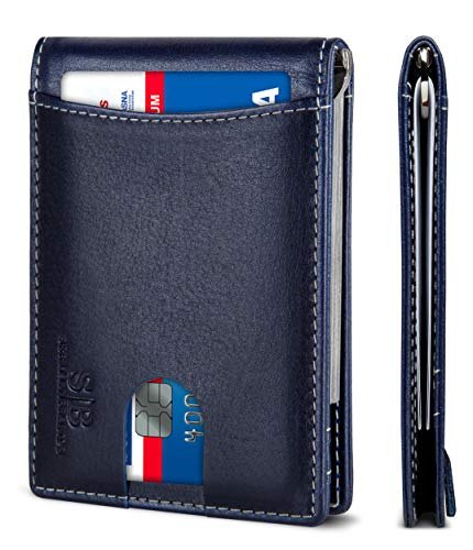 SERMAN BRANDS RFID Blocking Slim Bifold Genuine Leather Minimalist Front Pocket Wallets for Men with Money Clip Thin Mens (Atlantic Blue 1.0)