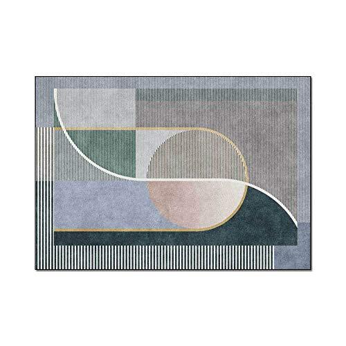 HJFGIRL Teppich Moderne Nordische Geometrische Grün Graue Linie Muster Teppiche Große Soft Touch Dünn rutschfeste Teppichbodenmatte Für Wohnzimmer Schlafzimmer Küche (160 * 230 cm)