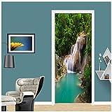 Pegatinas de puerta DIY, pegatina de PVC para puerta, paisaje 3D, cascada, Mural, papel tapiz, calcomanía de pared para la puerta de la sala de estar, decoración del hogar, póster 3D