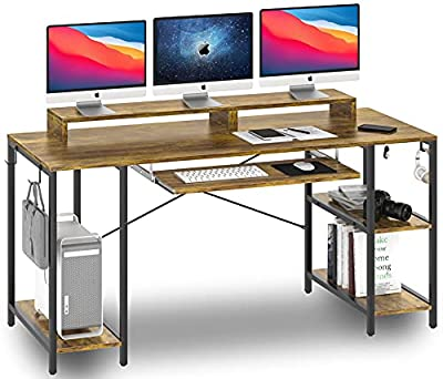 Computer Desk with Keyboard Tray, 55-inch Study Writing Desk Gaming Desk with Storage Shelves for Home Office Bedrooms Modern Pull Out Keyboard Tray Desk for Student Teen Easy Assemble, Rustic Brown by HYPIGO