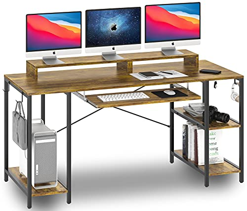 Computer Desk with Keyboard Tray, 55-inch Study Writing Desk Gaming Desk with Storage Shelves for Home Office Bedrooms Modern Pull Out Keyboard Tray Desk for Student Teen Easy Assemble, Rustic Brown
