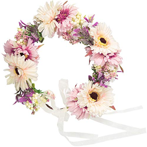 dressforfun 302791 Blumen Stirnband Haarband Blumenkranz, größenverstellbar, für Hochzeit oder Trachten Party