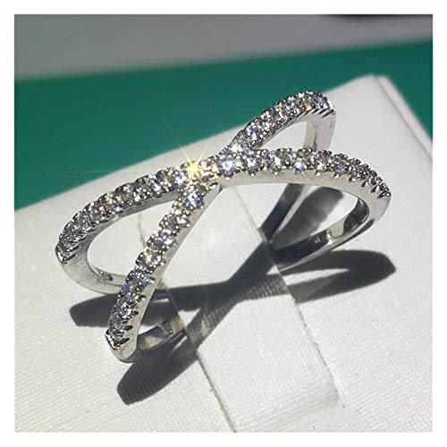 XYBH Anillo de plata de ley 925 con 40 estilos impecables, anillo de compromiso para mujer (color de gema: estilo 25, tamaño del anillo: 5)