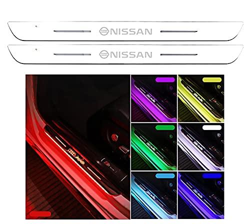 (BUNKIKI) NISSAN 日産 専用 7色 LED サイドステップガード スカッフプレート 自動変色 配線不要 USB充電コード付き マグネット簡単取り付け 適応車種 デイズ セレナ エクストレイル エルグランド スカイライン ノート キューブ ジューク (日産専用、2枚セット)