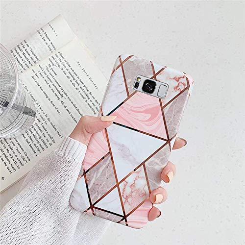 Saceebe Compatible avec Samsung Galaxy S8 Coque Silicone Motif Marbre Housse Etui de Protection Bumper Ultra Fine Bling TPU Silicone Souple Mince Léger Case Anti-Rayures Antichoc,Blanc Rose