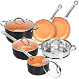 SHINEURI Copper Cookware Set Nonstick Ceramic Pots & Pans Set, Aluminum Pots