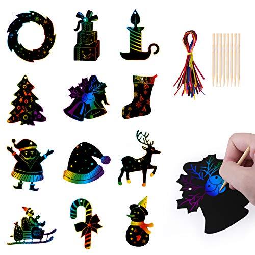 Kesote - Juego de 36 papeles para rascar para niños con 24 lápices para rascar para manualidades, dibujo y pintar (12 diseños)