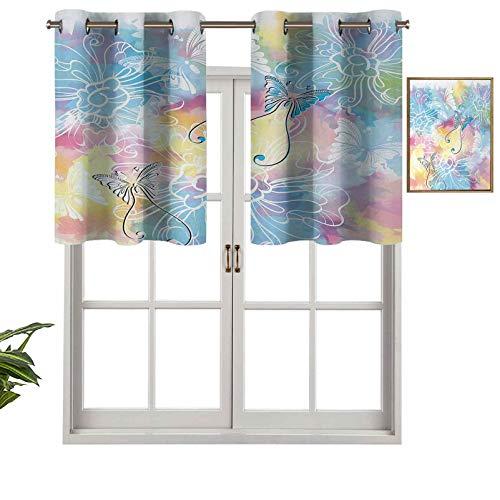 Hiiiman Window Curtain Valances Room Darkening Romantic Brushstroked Backdrop with Haze Blur Splash Features and Moth Antler, Set of 1, 42'x18' Valances for Kitchen Window with Grommet