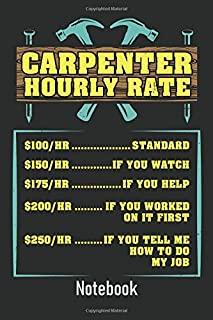 Carpenter Hourly Rate: Ruled Notebook Journal I Funny Woodworker Gifts