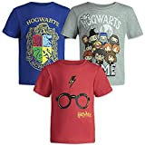 Harry Potter Hogwarts Toddler Boys Short Sleeve T-Shirts 3 Pack Blue Grey Red 2T