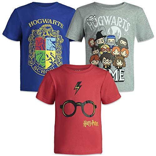 HARRY POTTER Camisetas de Manga Corta Hogwarts para Niño Pequeño - Pack de 3 - Azul, Gris y Roja 2-3 Años