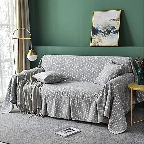 DERUKK-TY Mantas de sofá - Toalla para sofá - Protector de Muebles de Rayas geométricas Blancas - Funda de sofá Antideslizante para sofá - 5 Colores, Gris Claro, 200 * 200 cm