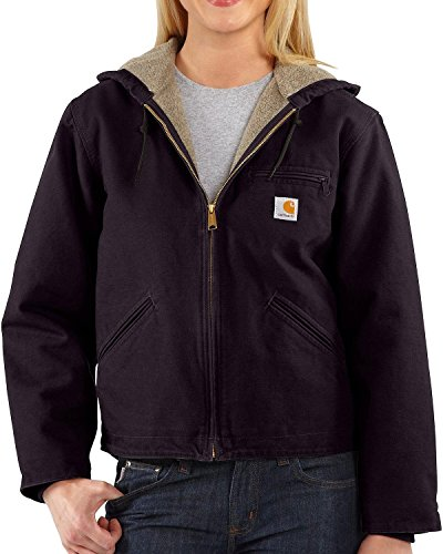Carhartt Women's Sherpa Lined Sandstone Sierra Jacket (Regular and Plus Sizes), Deep Wine, Medium