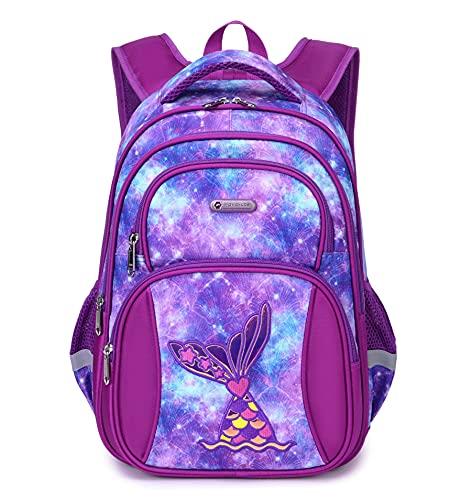Kids Mermaid Backpack for Girls Elementary Kindergarten Preschool School Bag 16″ Multifunctional Cute Large Capacity