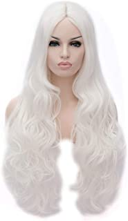 Flovex Women Long Wavy Cosplay Wigs Ladies Sexy Natural Costume Club Party Daily Hair with Wig Cap (White)