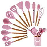 PDJW 12PCS Silicone Cooking Kitchen Utensils Set  Wooden Handles Cooking Tool BPA Free Non ToxicTurner Tongs Spatula Spoon Kitchen Gadgets Set for Nonstick Heat Resistant Cookware (Pink)
