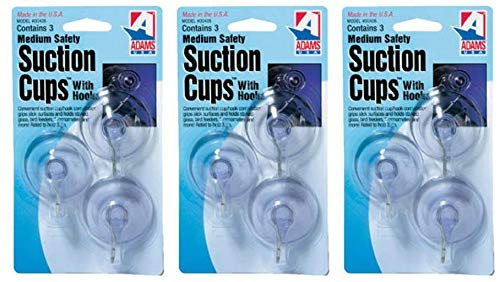 Adams Manufacturing 6500-74-3040 1-3/4-Inch Suction Cup Hook, Medium, 3-Pack (?hree P?ck)