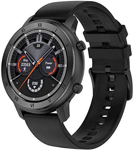 DHTOMC Relojes inteligentes para hombres y mujeres de 1.3 pulgadas HD pantalla redonda IP68 impermeable fitness tracker-negro