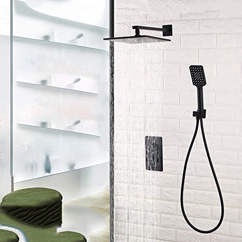 Faus Koco Komplett Kupfer voreingebettete Box verstecktes Duschset in die Wand Dusche Wasserhahn versteckt schwarz Dusche 26 cm
