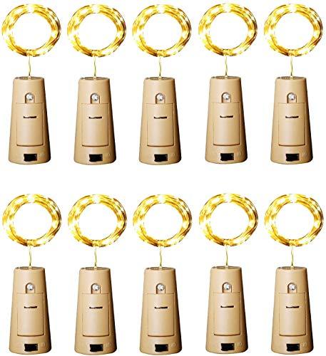 Botella de vino Luces con corcho, 2 metros con 20 LED Luces de cadena de alambre de cobre para botella Decoración de bricolaje, Bbq al aire libre, Fiesta, Boda,Vacaciones (Blanco cálido) Paquete de 10