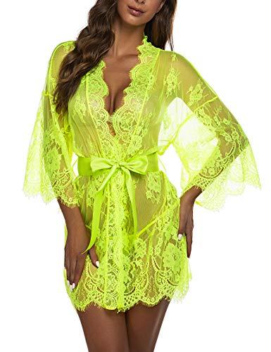 Avidlove Women's Lace Kimono Robe Babydoll Lingerie Mesh Nightgown G-String (M, Bright Green)