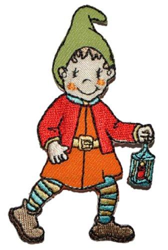 Zwerg mit Laterne 4,8 cm * 8,2 cm Bügelbild Aufnäher Applikation - Lampe Zwerge Gartenzwerg Kleiner Mann