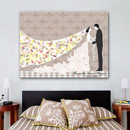 Huellas dactilares firma libro de giest para boda regalo de bodas huella digital de huellas dactilares pintura lienzo largo velo de la novia alternativa