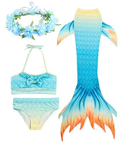 HiFunBay Filles sirène Queue Enfants Costume de Natation Inclus 3 PCS Bikini Maillot de Bain et Bandeau Guirlande de Fleurs (DH09-B08,150)