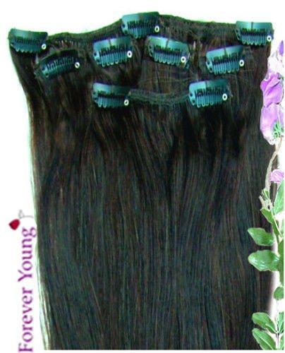 Forever Young Extensions de cheveux humains Clip dans Remy Demi Tête 40 g Longueur 45,7 cm Naturel Noir # 1b