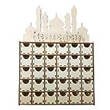 LLAni Holz-MDF-Schublade Eid Ramadan Mubarak Adventskalender muslimische islamische Dekorationen Ornamente Party Supplies DIY für Dekoration Zuhause Wand