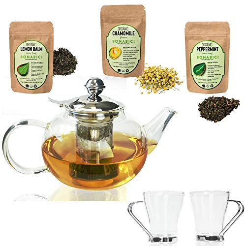 Bonabici Loose Leaf Tea Kettle Set w/Fancy Glass Teapot and Cups with Organic Bonabici Loose-Leaf Herbal Tea, Borosilicate Glass and Stainless Steel w/Snap-Fit Hinged Infuser & Brewing Chart (20 oz)