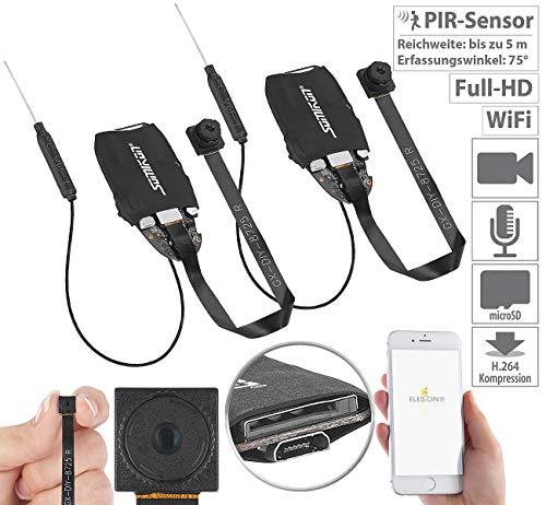 Somikon Knopfkamera: 2er-Set WLAN-Full-HD-Micro-Einbau-Kameras mit App (Spy Kamera)