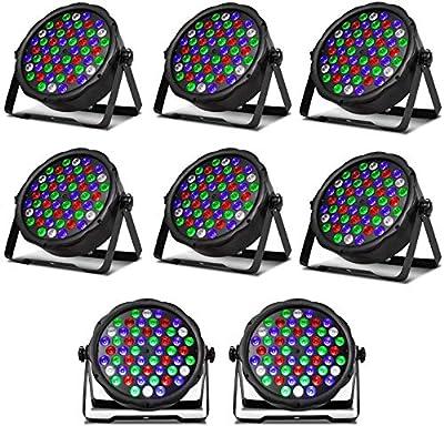 SHEHDS LED Stage Lights 8pcs 54x3W LED Par Light RGBW DMX Stage Lighting for DJ Show,Club,Home Party,Concert