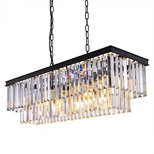 Wellmet Kristallleuchter Modern Kronleuchter K9 Kristall Pendelleucht 9-Licht 85cm-Länge Deckenleuchte rechteckig Lüster für Wohnzimmer, Esszimmer, Schlafzimmer, Kücheninsel Beleuchtung