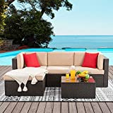 Vongrasig 5 Pieces Small Patio Furniture Sets, Outdoor All-Weather Sectional Patio Sofa Set, PE Rattan Wicker Patio Conversation Set with Ottoman, Glass Table and Beige Cushions (Brown)