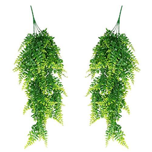 TYC Colgantes de vides Falsas, Plantas Artificiales Boston Ferns, Colgantes de Flores para Pared Cestas Colgantes de Interior Decoración de guirnaldas de Boda (Verde, 2 Pack)
