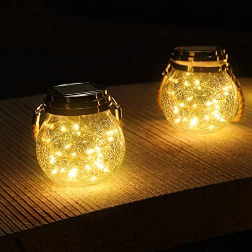 Chulovs 2 Stuks Opknoping Waterdichte Solar Light Jar Light 30 LED Glazen Lantaarn Outdoor Tafellampen Gazon Decor voor Patio Tuin Yard Kerstvakantie Decoratie (Warm wit)